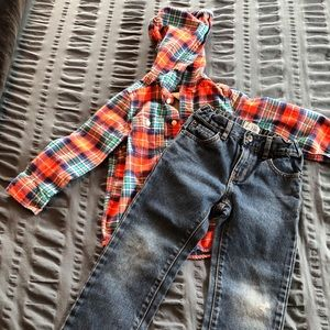 Other - Boys 5T Outfit Bundle - hooded flannel + jeans